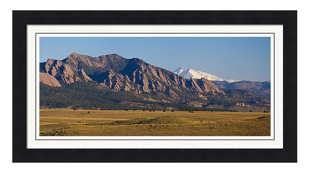 Flatirons And Snow Covered Longs Peak Panorama Framed Print