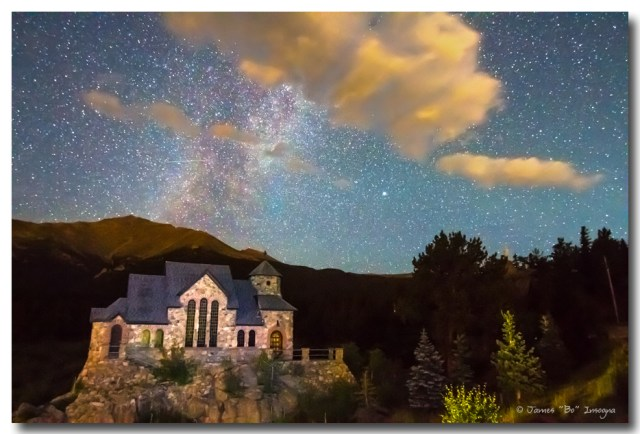 Milky Way Perseid Meteor Shower and Chapel On The Rock Art Prints