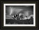 Longs Peak And Lightning In Black And White Framed Print