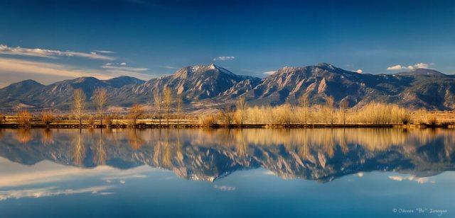 Flatirons Reflections Boulder Colorado Panorama Art Prints