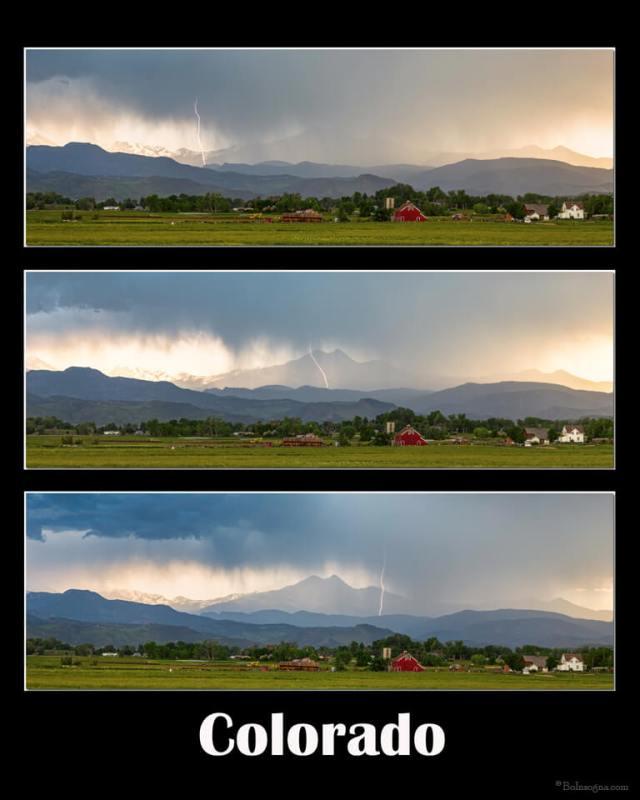 Front Range Longs Peak Lightning And Rain Colorado Poster