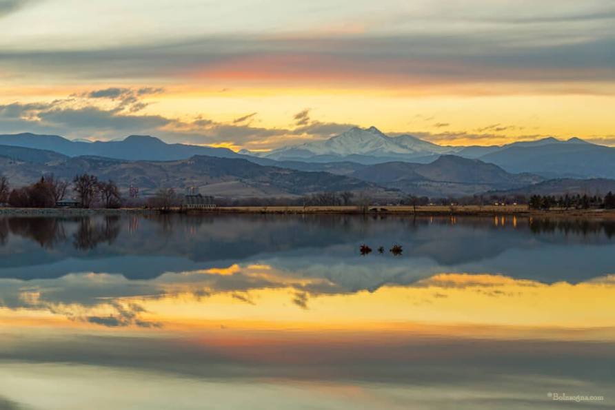 Lake Reflections With Golden Light Art Prints