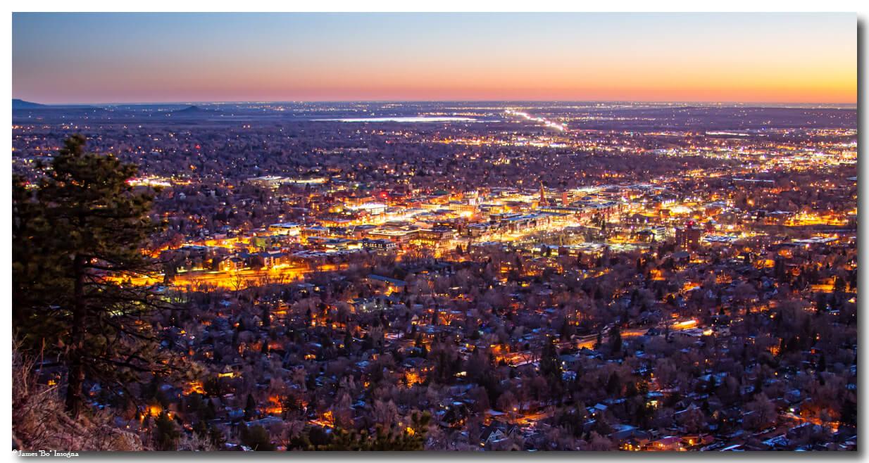 Boulder Colorado Downtown City Lights Scenic Sunrise Panorama