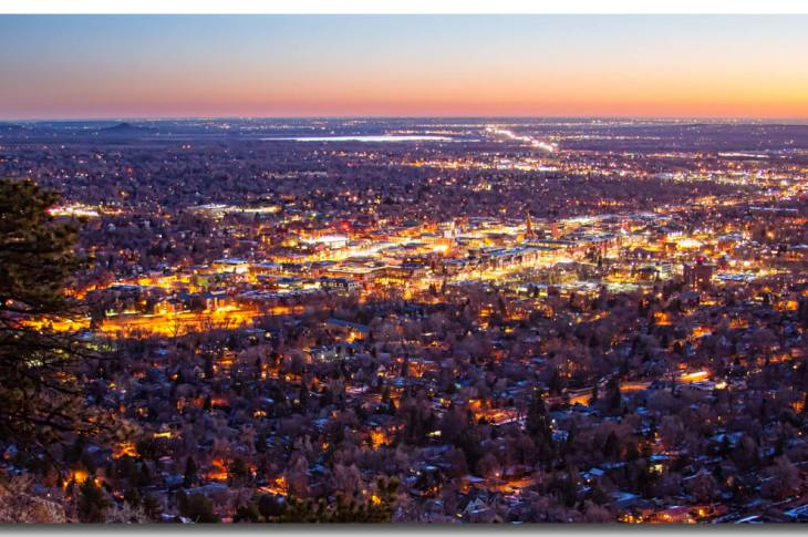 City Of Boulder Colorado Downtown Scenic Sunrise Panorama