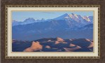 Early Morning Sand Dunes And Snow Covered Peaks Framed Print