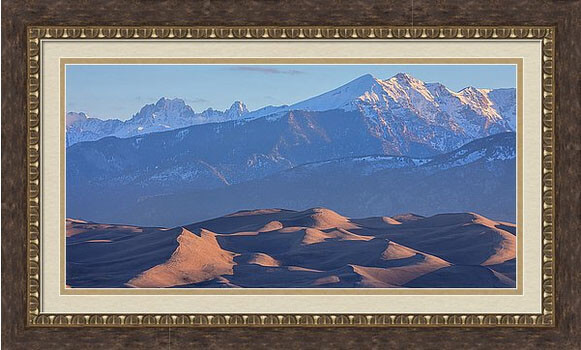 Colorado Great Sand Dunes And Snow Covered Peaks With Early Morning Light Panorama