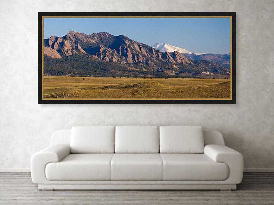 Flatirons And Snow Covered Longs Peak Panorama Framed Print