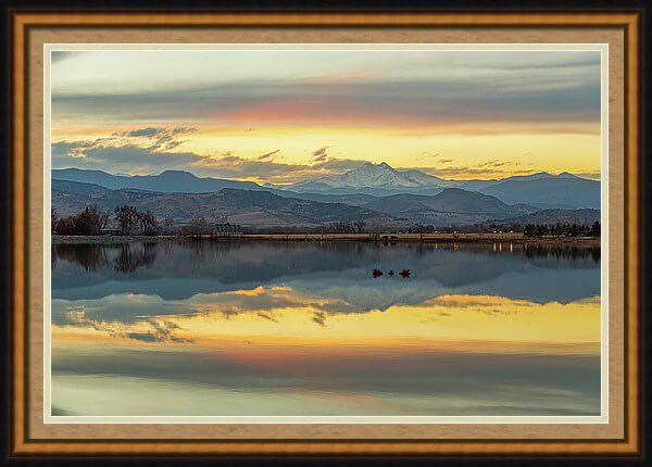 Marvelous Mccall Lake Longs Peak Reflections Framed Print