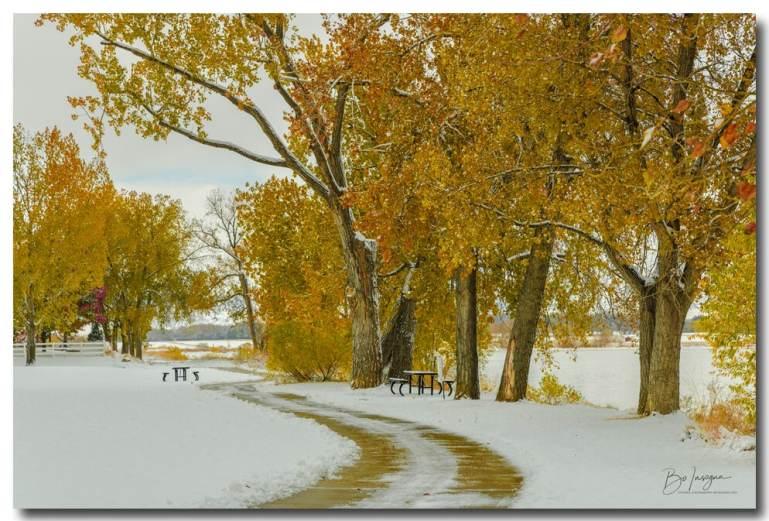 Beautiful Snowy Autumn Day fine art print for sale
