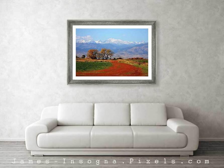 Beautiful Boulder County Colorado Landscape Red Road Autumn View Metal Print 1