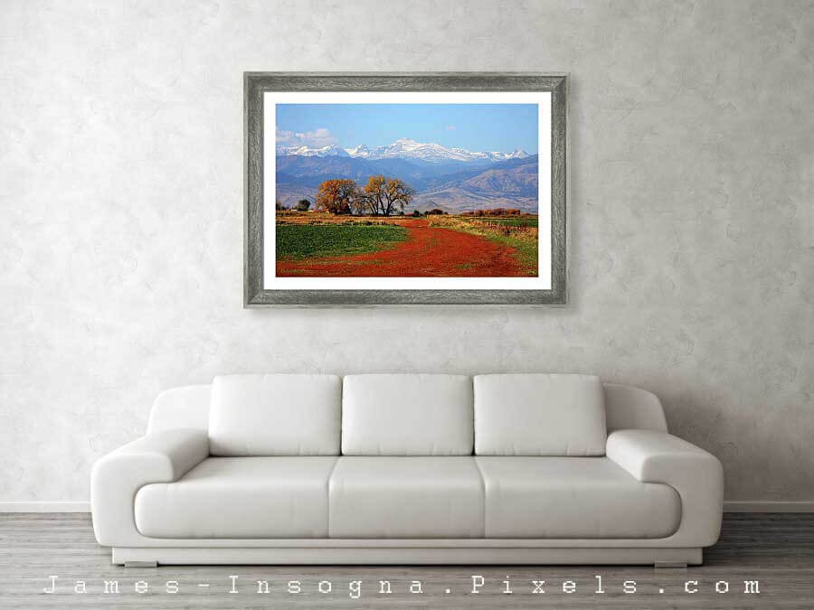 Beautiful Boulder County Colorado Landscape Red Road Autumn View Metal Print 1