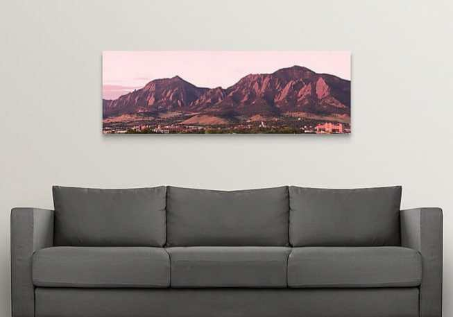 "Boulder Colorado Flatirons 1st Light 20""x60' Panorama Canvas Print"