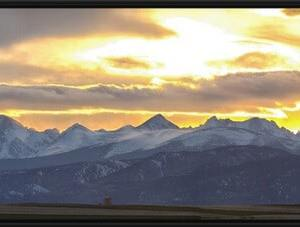 Colorado Front Range Panoramic Golden Sunset Black Framed Canvas