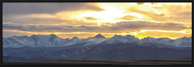 "Colorado Front Range Panoramic Golden Sunset  20"" x 60"" Black Frame Canvas"