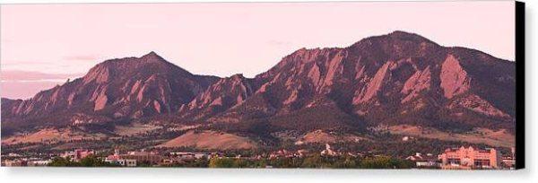 Boulder Colorado Flatirons 1st Light Panorama Canvas Print