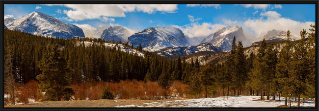 Continental Divide View Rocky Mountain National Park Panoramic Canvas Print BLK FRM 20x60