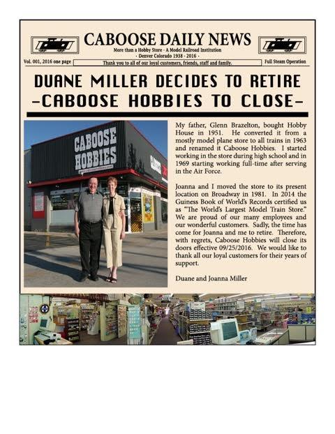 Our friends at Caboose Hobbies closes after nearly 80 years.