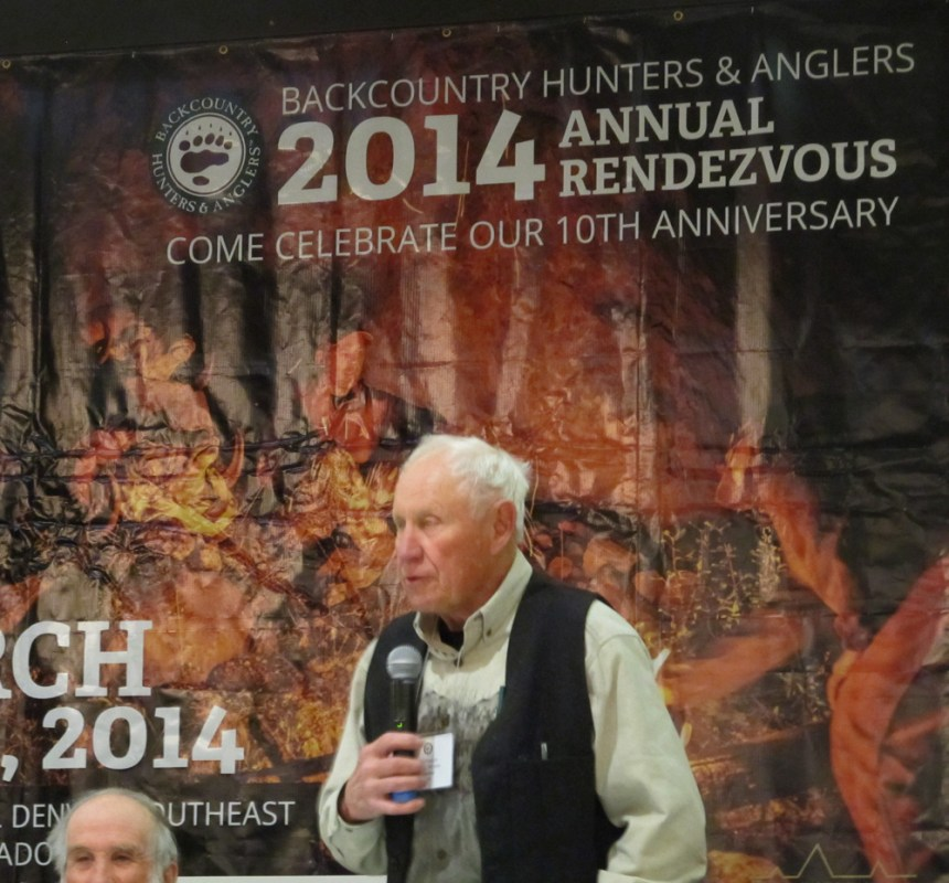 Jim Posewitz speaks on hunting ethics at a recent BCA event. Photo by David Lien.
