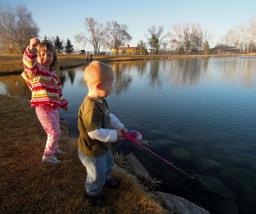 The author's kids enjoy a day of fishing at Severance Town Pond. Photo by Swigle/CPW.