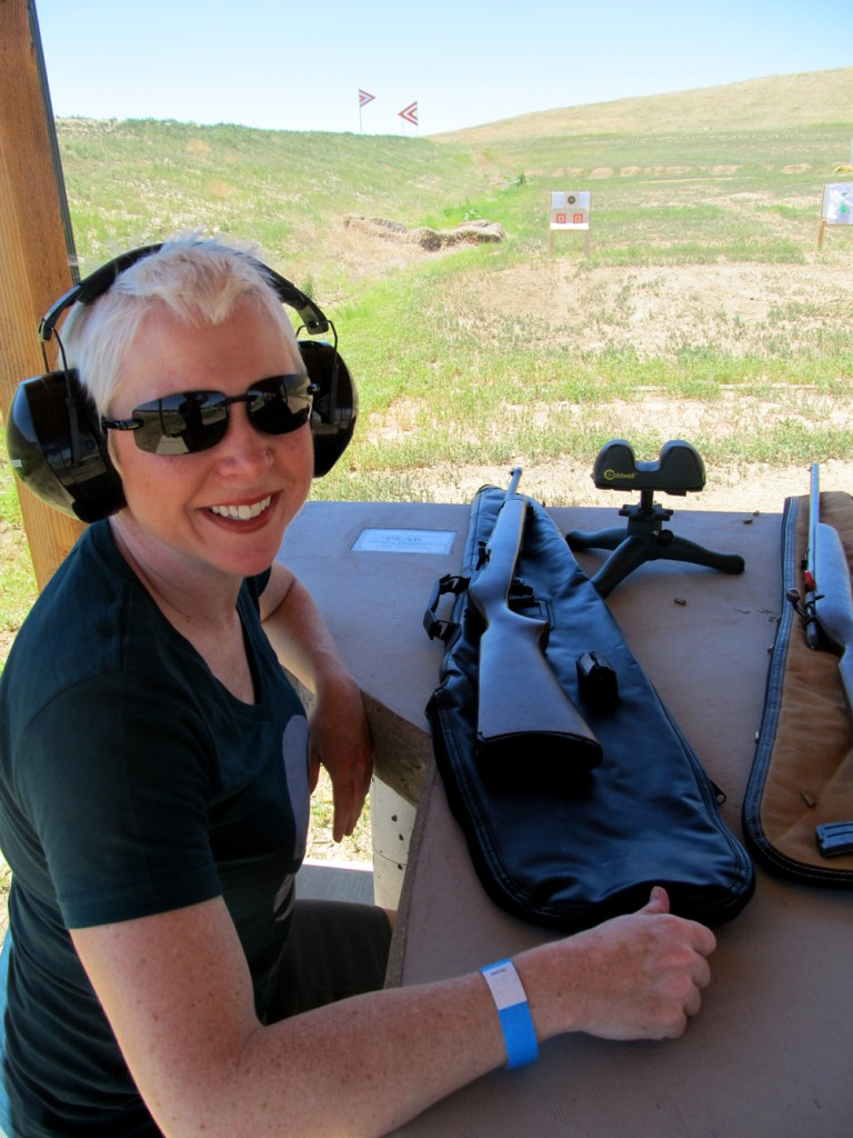 Melinda Miller practices shooting at a CPW hunter education course. Photo by David Lien.