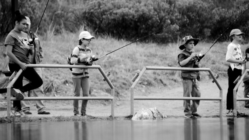 Students from Peiffer Elementary fishing