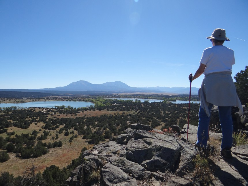 A hiker enjoys the views at Lathrop State Park. Photo by Linda Pohle.