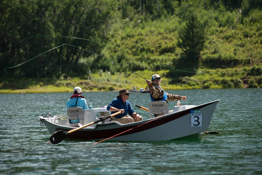Hunter Enloe of Team USA casts from a drift boat at Sylvan Lake State Park. Photo by Mike DelliVeneri/CPW.