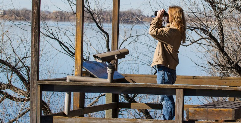 bird watcher at Barr Lake