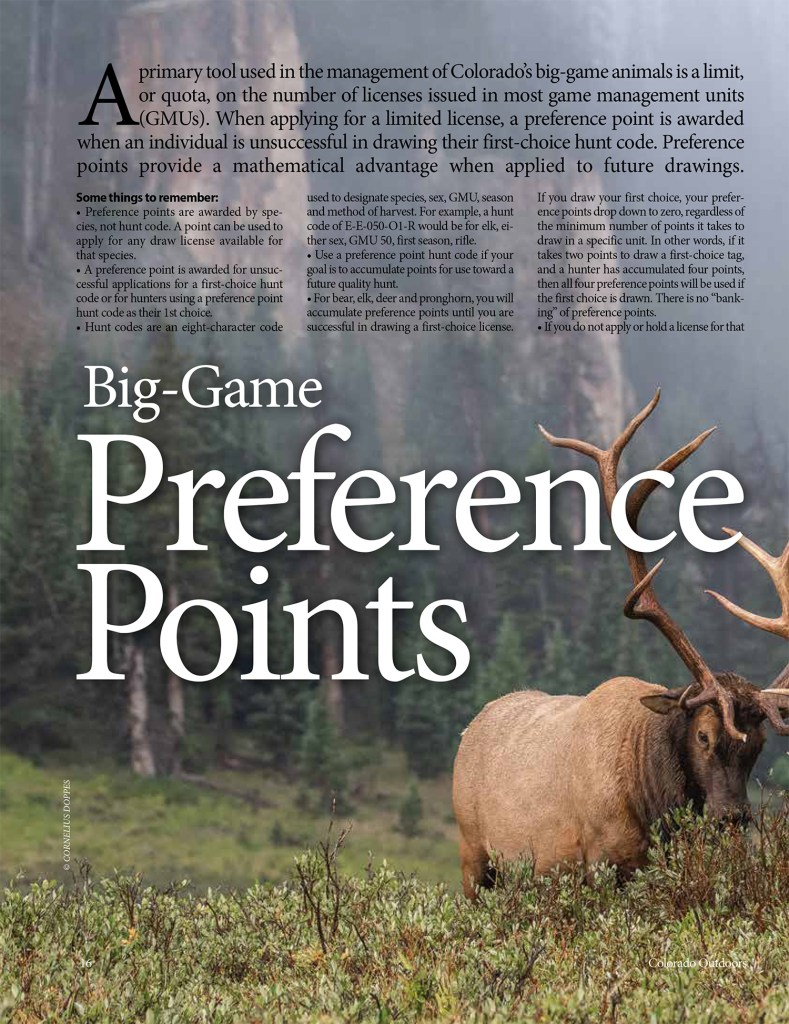 2019 Colorado Outdoors Preference Point Issue (Online