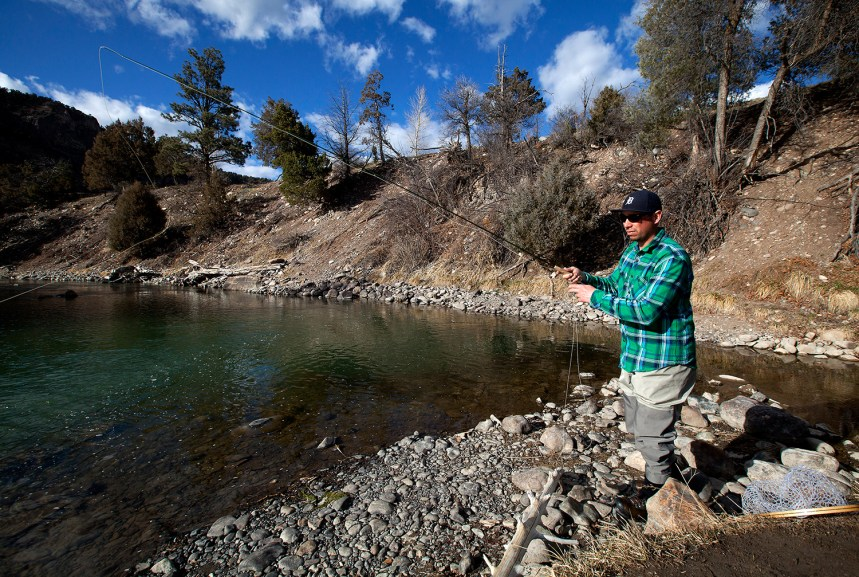 Fly fishing at Ridgway Reservoir