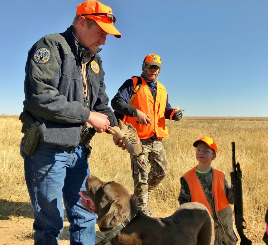 Colorado Parks and Wildlife Officer Aaron Berscheid and his chocolate Labrador Bill examine a chukar