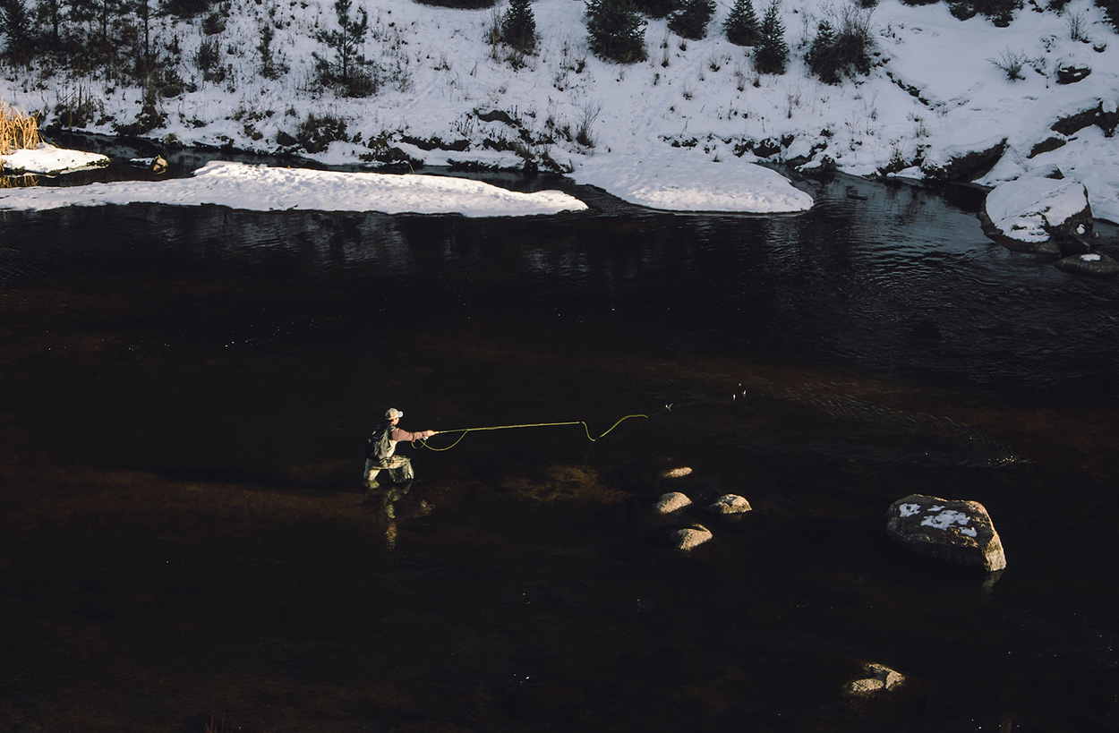 Angler fishing for savvy trout in Cheesman Canyon. Photo by © Mike DelliVeneri/CPW.