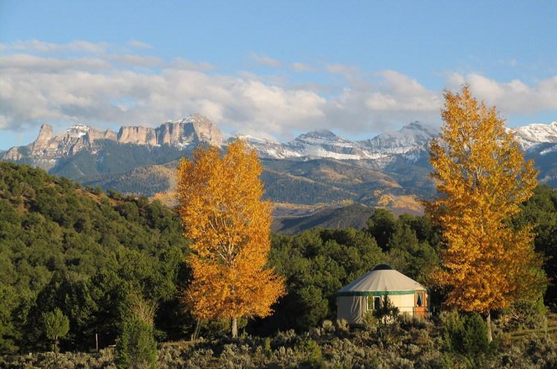 scenic view of yurt