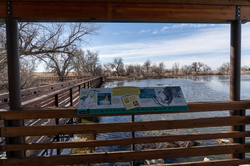 Interpretive sign provides educational information about Barr Lake and the wildlife.