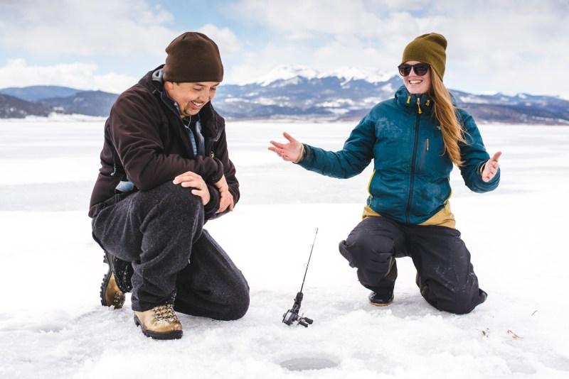 Telling ice fishing stories