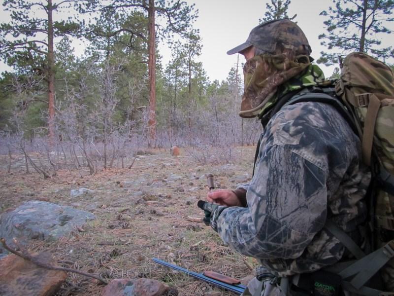 Hunter working a slate call.