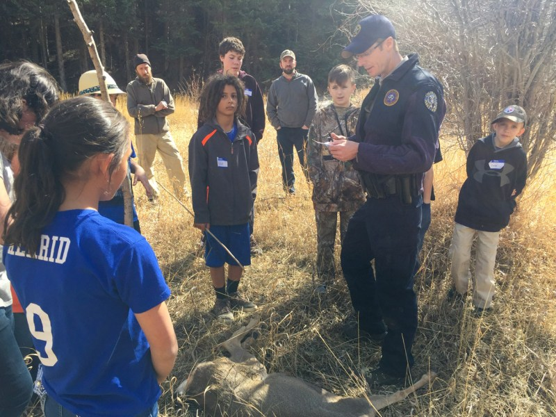 Photo is of the junior game warden class taught in Evergreen, Colo. in conjunction with the Jefferson County public schools.