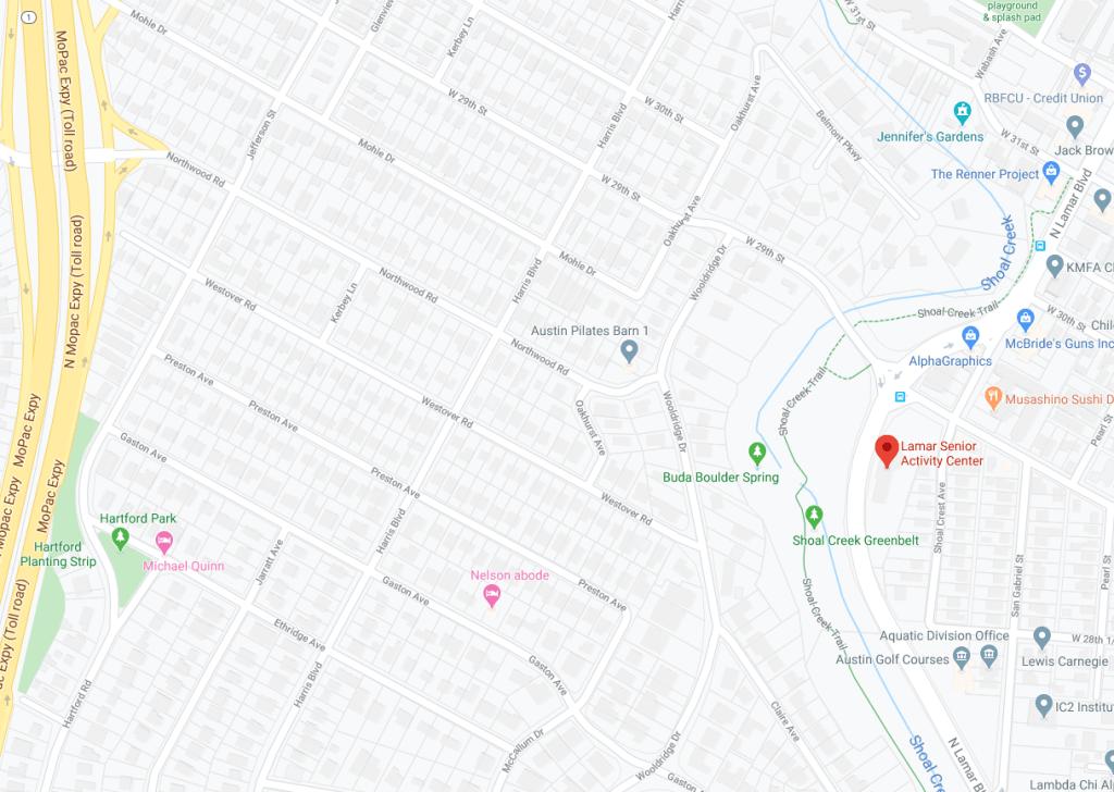 Map showing location of Lamar Senior Activity Center