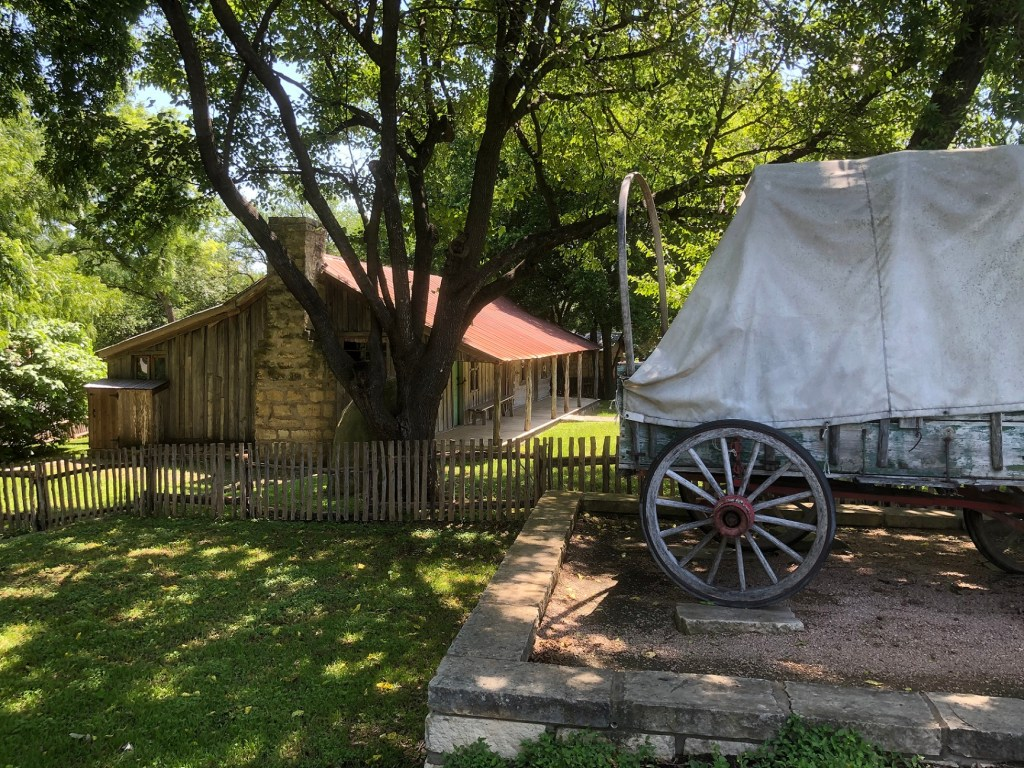 Homestead in Katherine Fleischer Park in north Austin with wagon