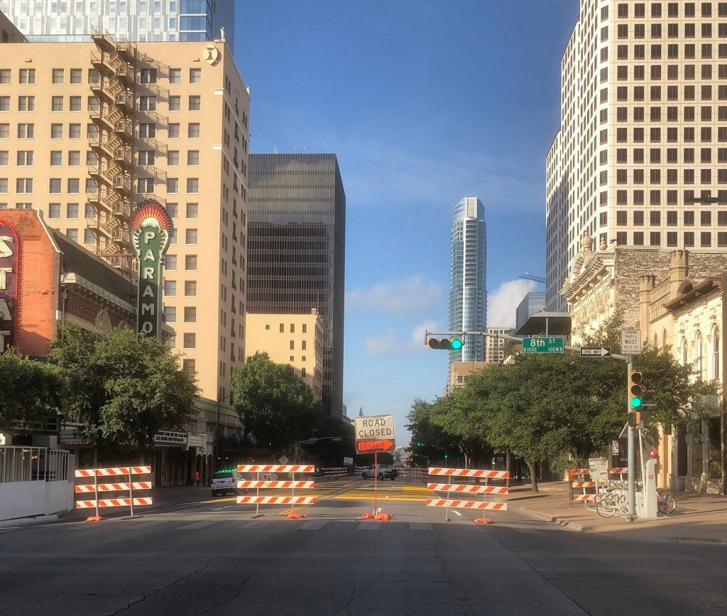 Barricades on Congress Ave for BLACK AUSTIN MATTERS mural