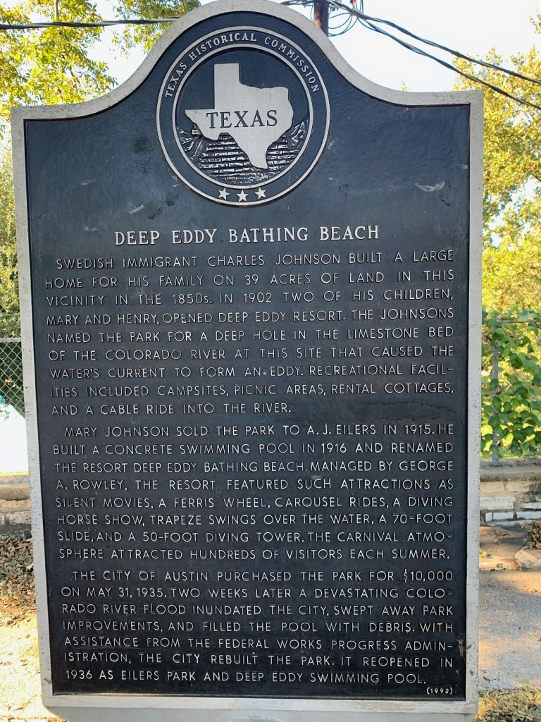 Deep Eddy Swimming Beach historical marker.