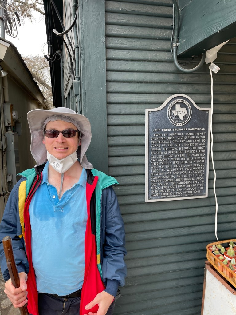 Frank by a Historical Marker in Wimberley