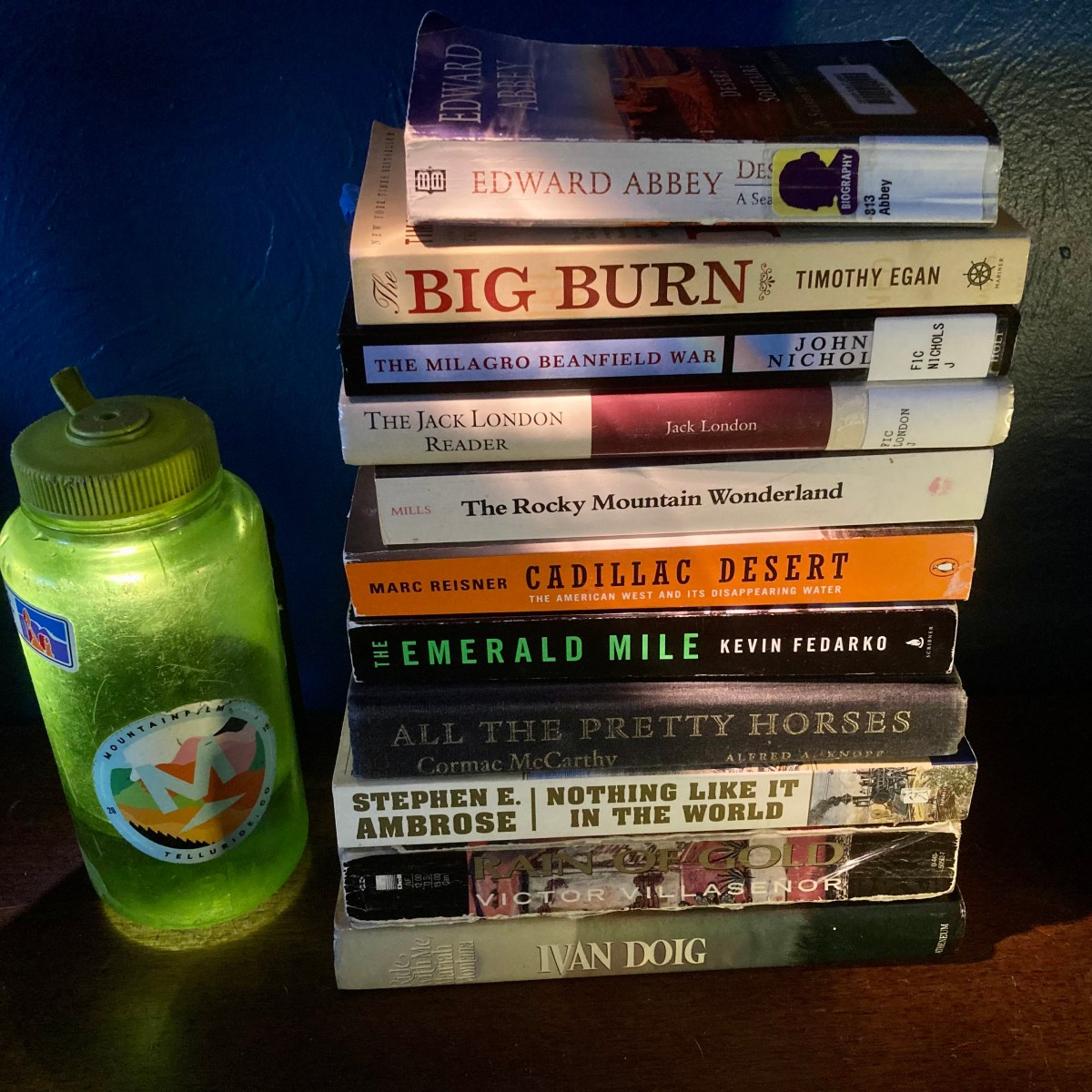 Stack of books to read when hiking in the Southwest