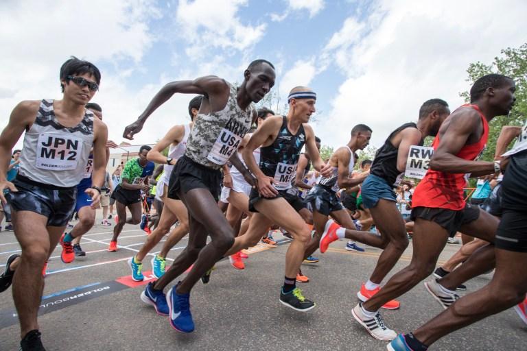 Pro runners at the Bolder Boulder Running Race