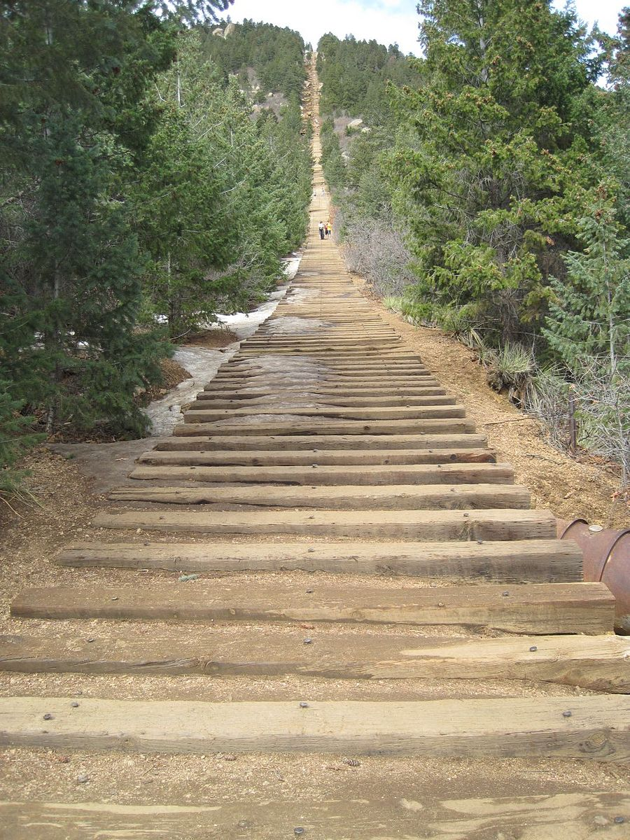 Looking up at steep and popular Manitou Incline trail
