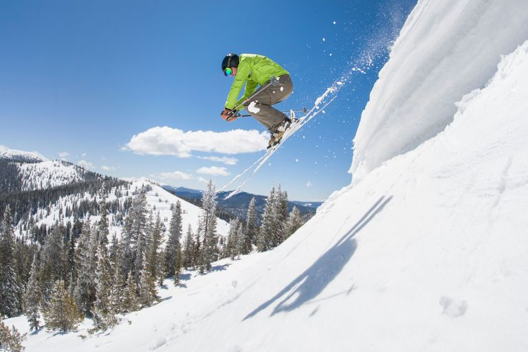 Skier at Monarch Mountain, a small Colorado ski area, on a spring Day