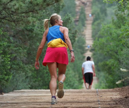 hiker on the Manitou Incline in Colorado