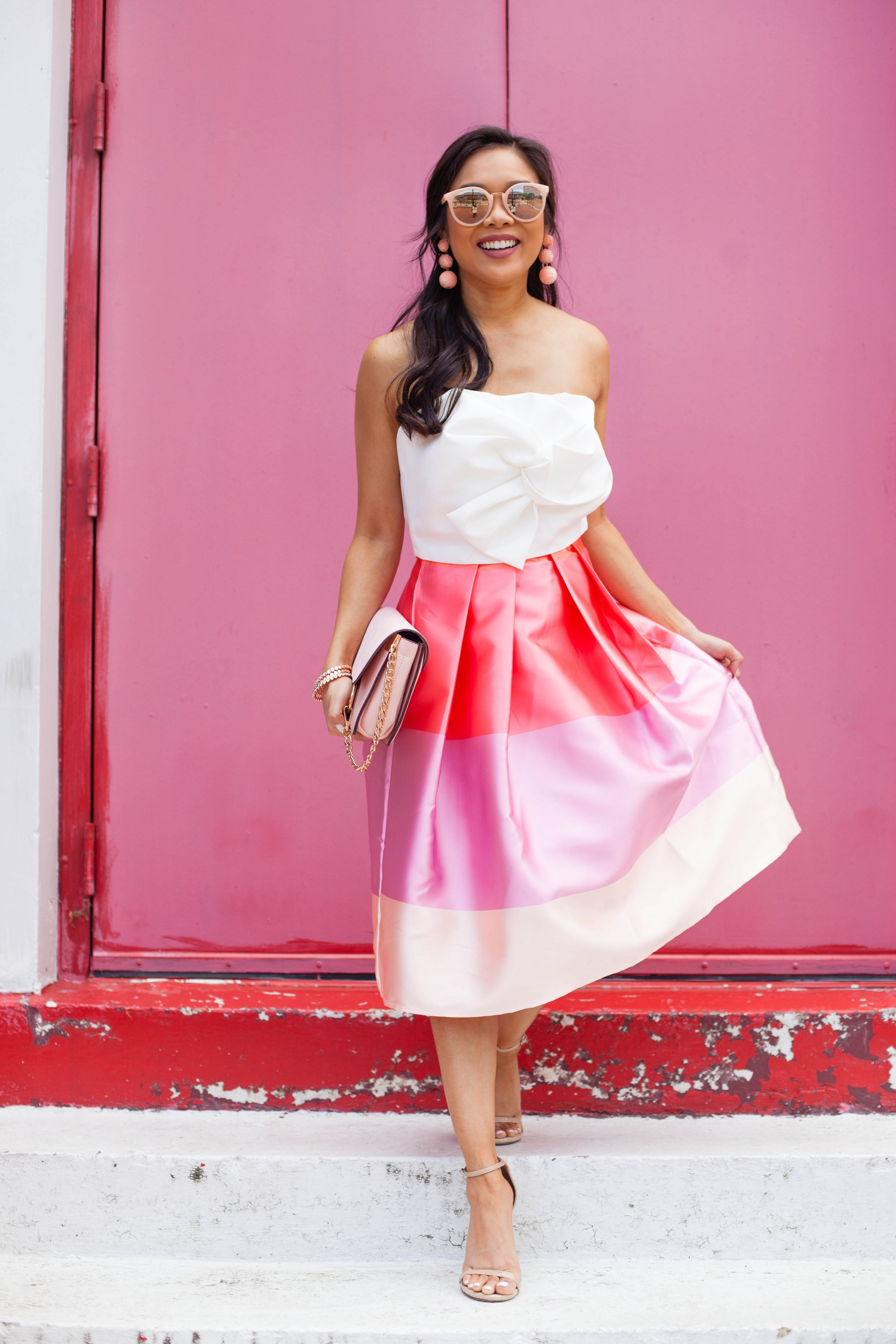 Pink Party Outfit White Bustier Striped Midi Skirt Color Amp Chic