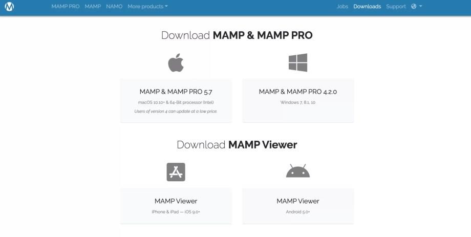 MAMPのダウンロードページOS別