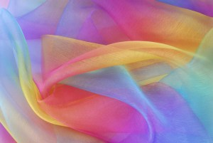 organza fabric in rainbow color